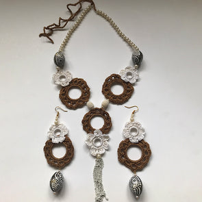 Cream and Brown Crochet Necklace Set