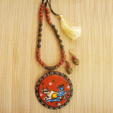 Handpainted Krishna with Cow Necklace Set