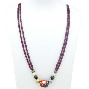 Garnet, Pearl Stone Necklace