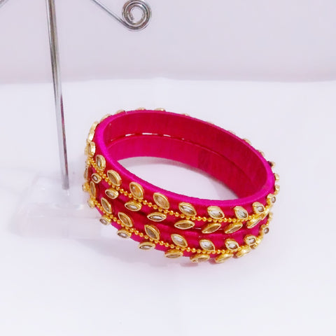 Silk Thread Kundan Bangles