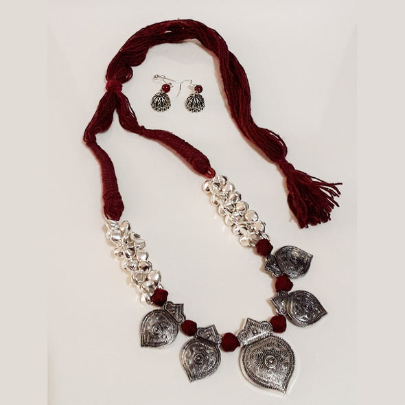 German Silver Statement Necklace and Jhumkas