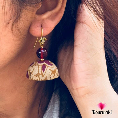Block Printed Fabric Jhumkas