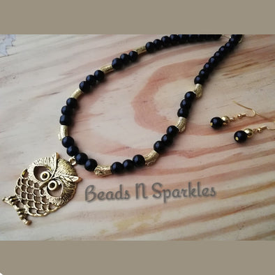 Black Night Owl Necklace Set