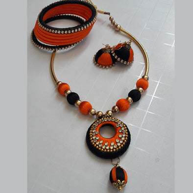 Black and Orange Silk Thread Necklace Set