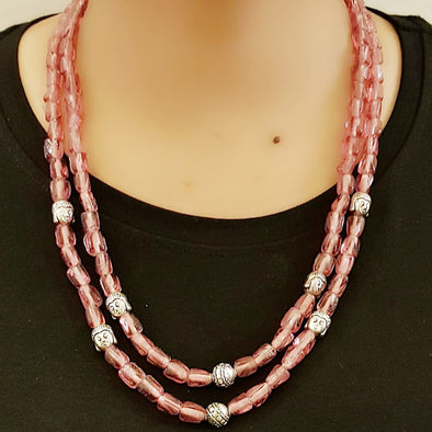 The Bead Story - Pink Glass Beads Necklace