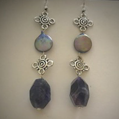 Purple Agate with Silver Earrings