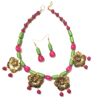 Parrot Green And Fuchisa Pink Coloured Golden Flower Charms Necklace Set