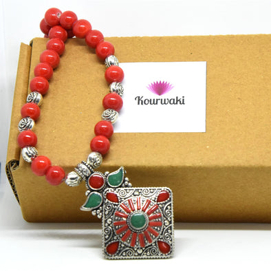 Nepalese Red Coral Turquoise Necklace Set