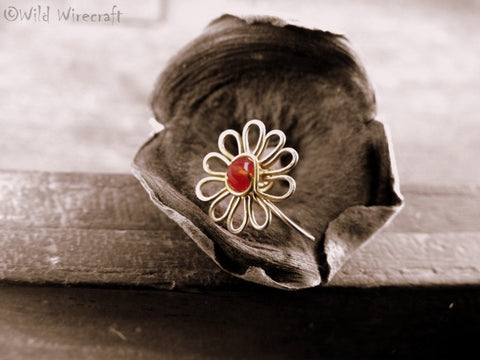 Maroon Flower Faux Nose Ring