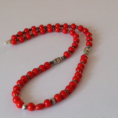Synthetic and Silver Bead Necklace