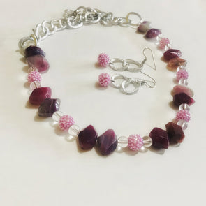 Pink Agate With Silver Chain Set