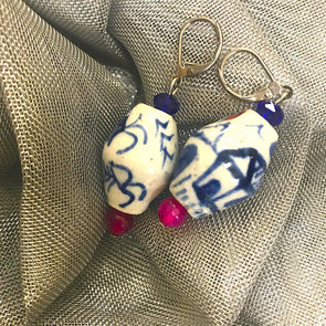 Blue Ceramic Pink Earrings