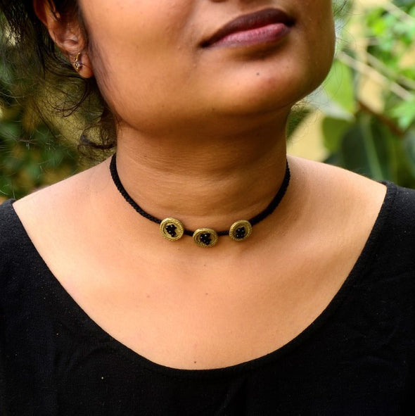 Dokra Button Choker Necklace