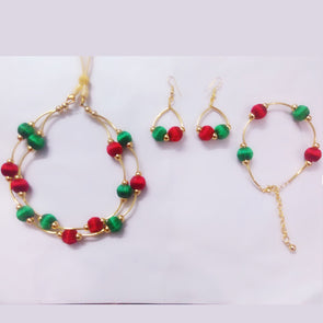 Silk Thread Necklace Set - Red and Green