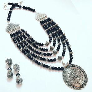 Black Glassbeads Statement Necklace Set