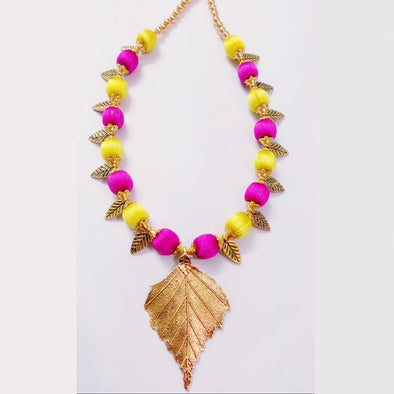 Silk Thread Antique Leaf Necklace Set - Yellow with Pink