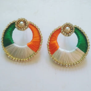Tricolour Silk Thread Chandbali