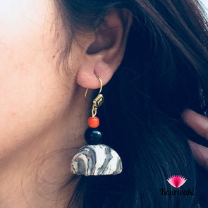 Kalamkari Printed Fabric Jhumka Earrings