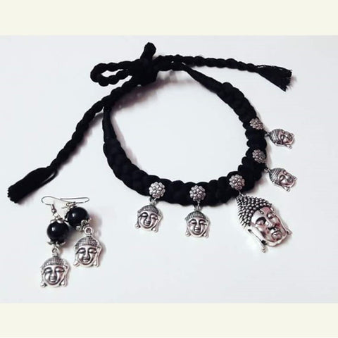 Lord Buddha Black Thread Statement Necklace