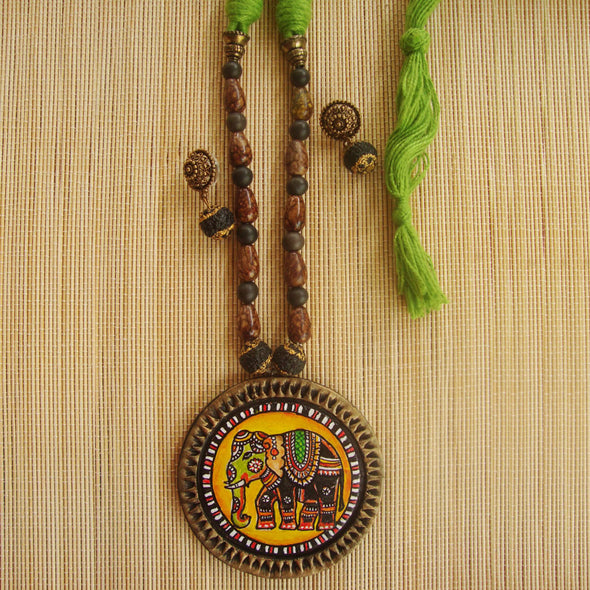 Handpainted Charmakari Elephant Necklace Set