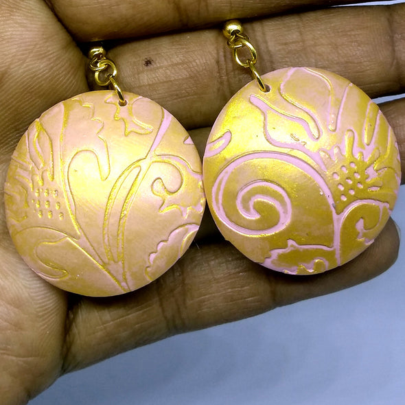 Pink Polymer Clay Daily Wear Earring