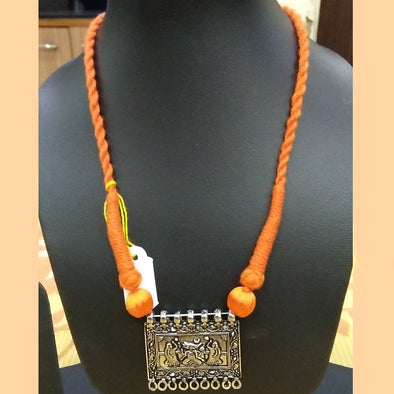 Orange Thread Necklace