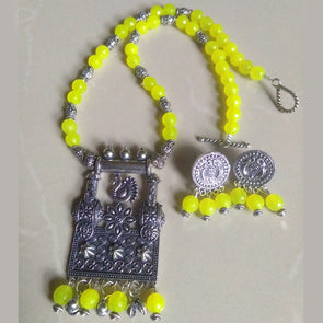 Yellow Agate Necklace with Peacock Pendant Set