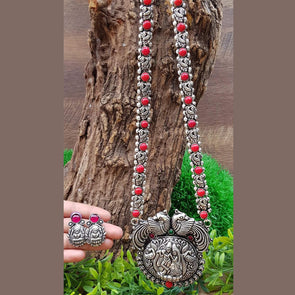 Radha Krishna German Silver Necklace Set 51