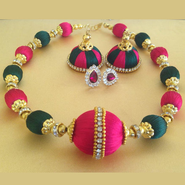 Pink and Dark Green Necklace Set