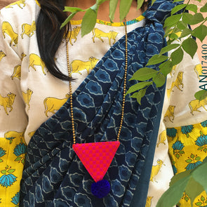 Pink Woven Triangle with Blue Pompom
