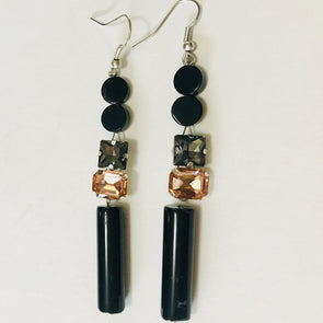 Black Agate with color Rhinestones Earrings