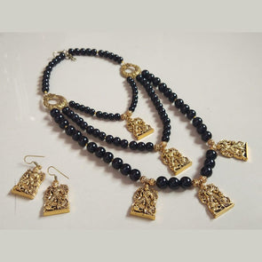 Black Glassbeads Durga Maa Necklace