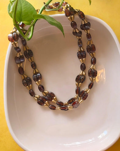 Brown and Golden Glass Bead Necklace