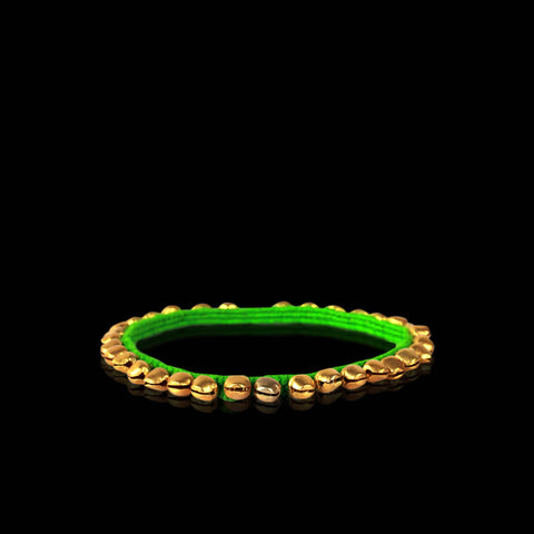 Parrot Green and Gold Bells Anklet