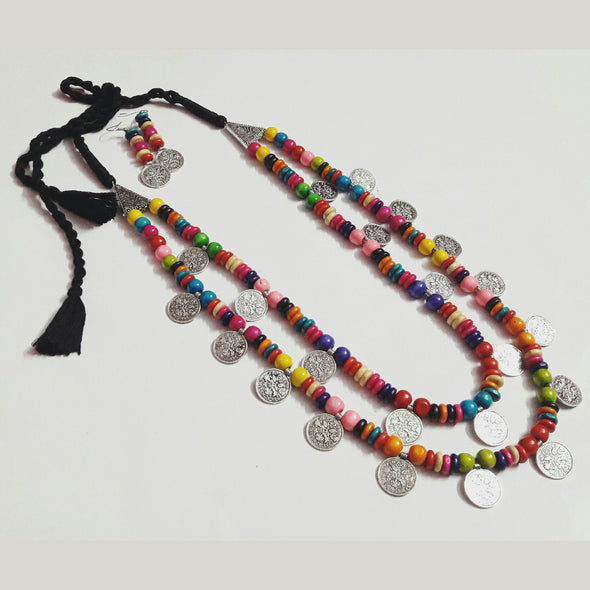 Colourful Wood Beads Neckpiece