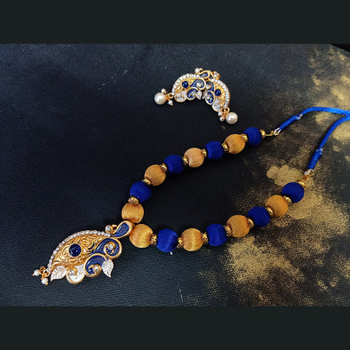Blue and Gold Silk Thread Necklace Set