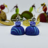 Demin Blue Ikat Fabric Jhumka Earring