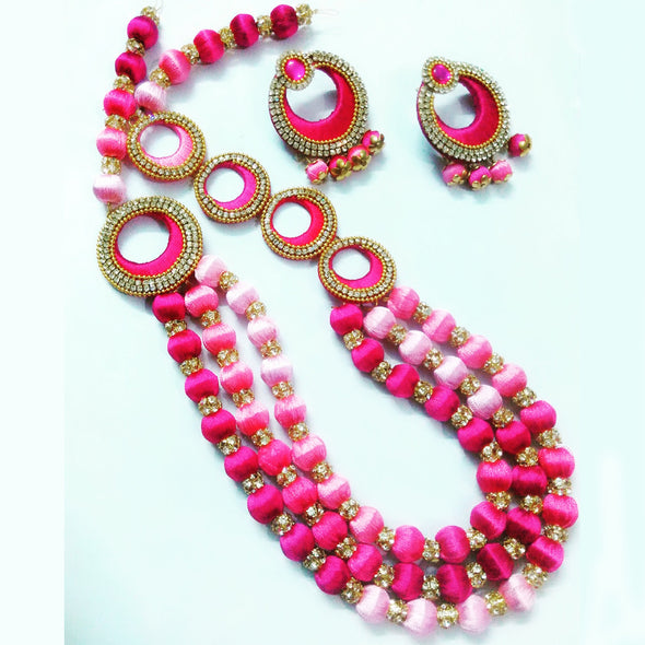 Silk Thread Statement Necklace Set
