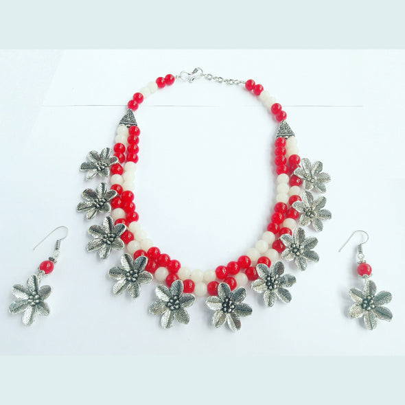 Glass Beads Floral Ethnic Necklace