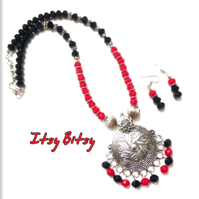 Red-Black German Silver Neckpiece Set