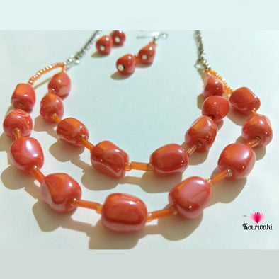 Double Layered Tangerine Neckpiece with Long Danglers