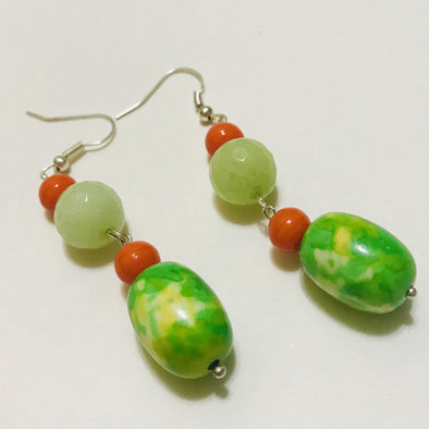 Green Print Bead with Orange Earrings