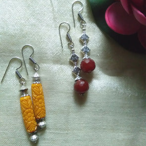 Brick Brown and Yellow Earrings