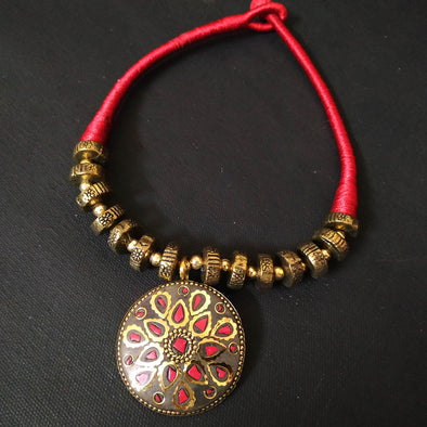 Red Tribal design Neckpiece