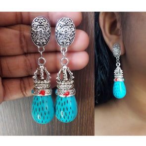 Blue Metallic Danglers