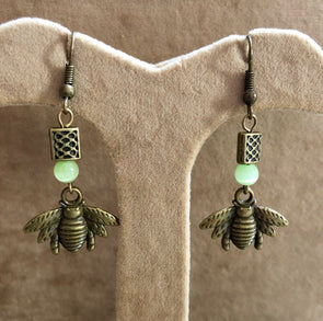 Antique Bronze Bees with Green cat's eye beads