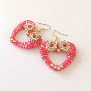 Silk Thread Heart Earring