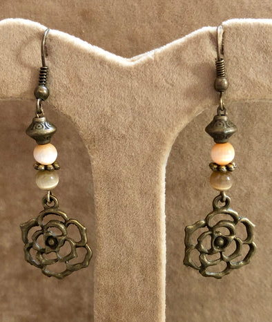 Antique Bronze Flower with Cat's Eye Beads