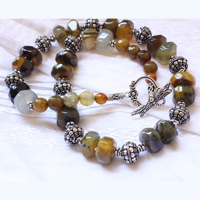 Oxidised Agates Necklace