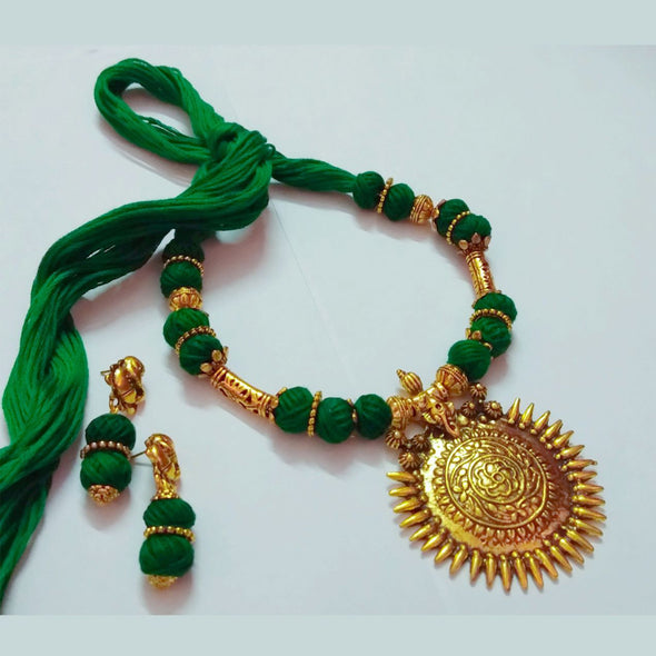 Ganapati Cotton Ball Necklace Set